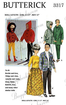 Butterick 3317 - for 11 1/2 & 12 inch barbie, ken, etc doll sewing patterns