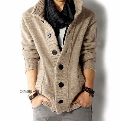 Men's Cable Knitted Cardigan Chunky Jumper Sweater Long Sleeve Button Khaki Gray