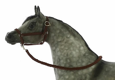 Model Horse Halter and Lead Rope Brown. Fits Traditional Sized Breyer