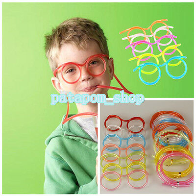 New!! Novelty Fun Drinking Unique Flexible Soft Glasses Straw Glasses Drink Tube