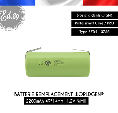 2200mAh Replacement Battery WorldGen Oral B Professional Care TriZone 3754 3756
