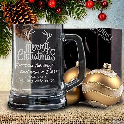 Personalised Christmas Beer Mug Gift Box Glass Engraved Present Gift Unique Dad