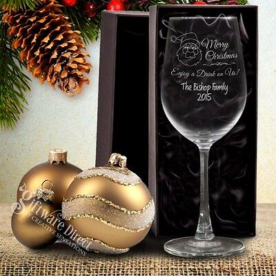 Personalised Christmas Wine Glass Gift Box Engraved Present Gift Unique Mum