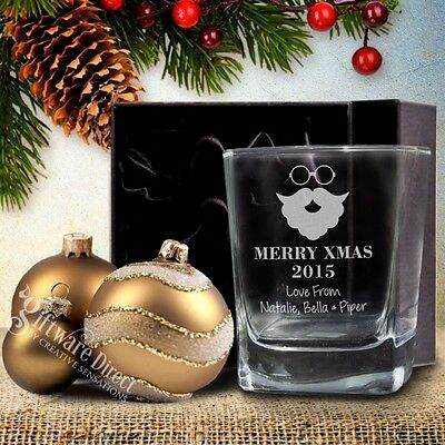 Personalised Christmas Scotch Whiskey Glass Engraved Present Gift Boxed Option