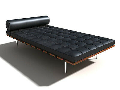 Barcelona Style DayBed In Black Semi-aniline leather and walnut finished base