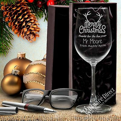 Personalised Teacher School Christmas Wine Glass Thankyou Gift Present Year End