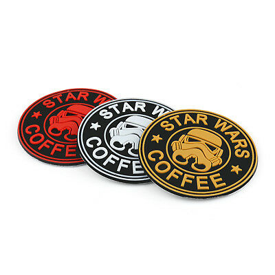Star Wars Coffee Parche Rubber Hook Loop Patch Tactical Morale Combat Badge