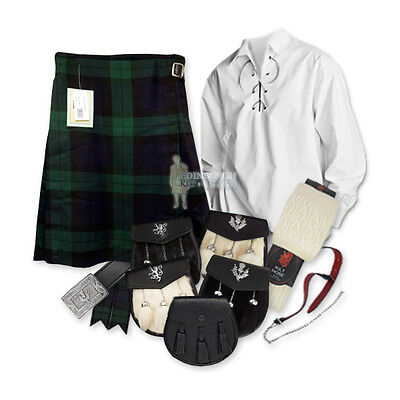 Party Kit Kilt Outfit - Black Watch - White - Size & Upgrade Options !