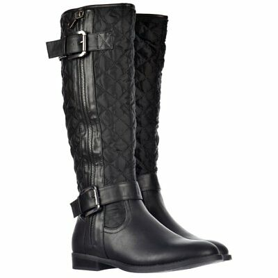 Womens Girls Quilted Knee High Riding Biker Boots Buckles Black Brown Size New