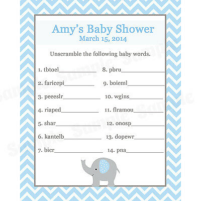 24 Baby Shower Word Scramble Game Cards Elephant Design In Pink