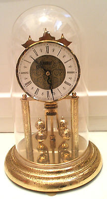 S.Haller Simonswald German Anniversary Winding Movement Mantle Clock,Glass Dome