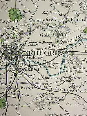 1920 COUNTY MAP of BEDFORDSHIRE ~ SHOWING RAILWAYS STATIONS VILLAGES PARKS SEATS
