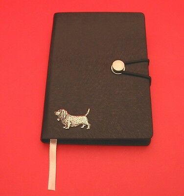 Basset Hound Motif A6 Black Soft Touch Journal Father Mothers Useful Xmas Gift