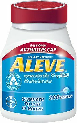 Aleve Naproxen Sodium Tablets 220mg 200ct Tablets -FREE WORLDWIDE SHIPPING-