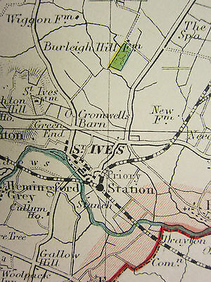 1920 COUNTY MAP of  HUNTINGDONSHIRE ~ SHOWING TOWNS RAILWAYS VILLAGES etc