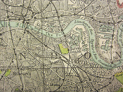 1920 COUNTY MAP of MIDDLESEX ~ TOTTENHAM WOOD GREEN RAILWAYS LONDON VILLAGES