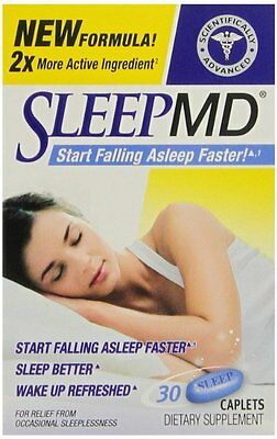 Sleep MD, Sleep Aid, 30 Count Caplets -FREE WORLDWIDE SHIPPING-