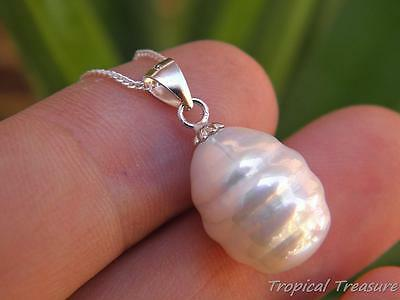 16x12mm Ringed Baroque White Pearl Pendant & 40cm 925 SOLID Silver chain