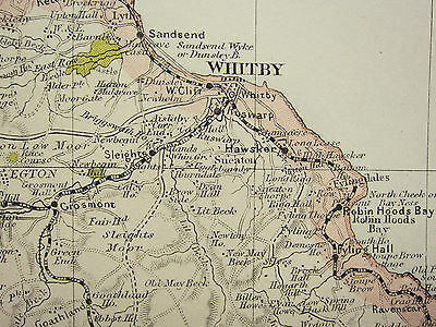 1920 COUNTY MAP of YORKSHIRE NORTH EAST ~ SCARBOROUGH WHITBY THIRSK RAILWAYS