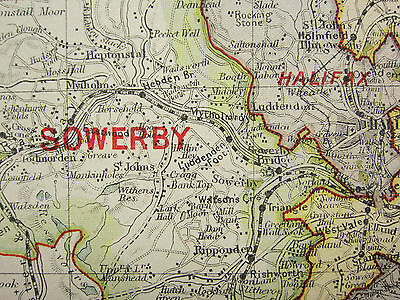 1920 COUNTY MAP of YORKSHIRE SOUTH WEST ~ SOWERBY WENTWORTH ELLAND HALIFAX etc
