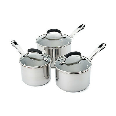 RACO Contemporary 3 Piece Stainless Steel Saucepan Set Silver Induction  NEW