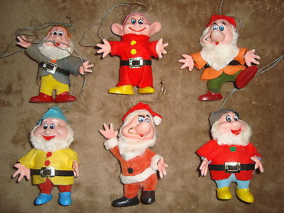 "Disney Dwarfs Plastic Christmas Ornament Lot 6 pcs 4"" tall AS IS"