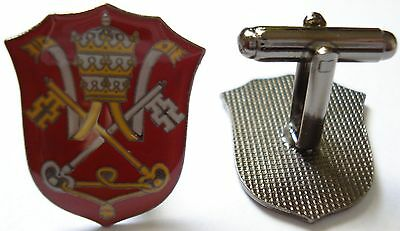 HOLY SEE Vatican Coat of Arms Pope Catholic Suit Cufflinks Cuff Links Set