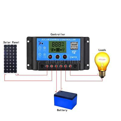 10/20A 12/24V Solar Panel Charge Controller Auto Regulator Switch with LCD AQ1H