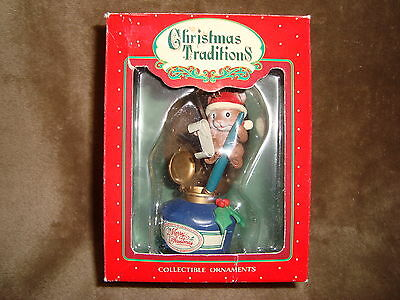 1992 Lustre Fame Ltd Christmas Traditions Collectible Ornament mouse on ink well