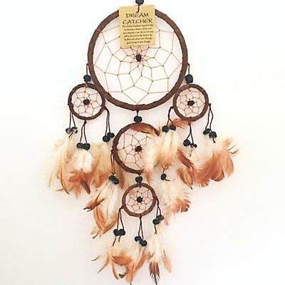 Dreamcatcher Dream Catcher Brown Suede Multi Feather Native American Indian