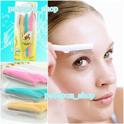 3X Facial Eyebrow Lip Hair Removal Safety Razors Trimmer Shaper Shaver Cosmetics
