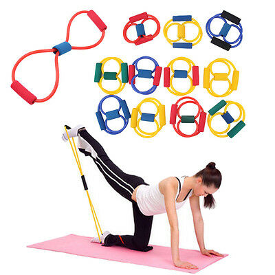 Resistance Band Yoga Pilates Abs Exercise Stretch Fitness Tube Workout Bands OV