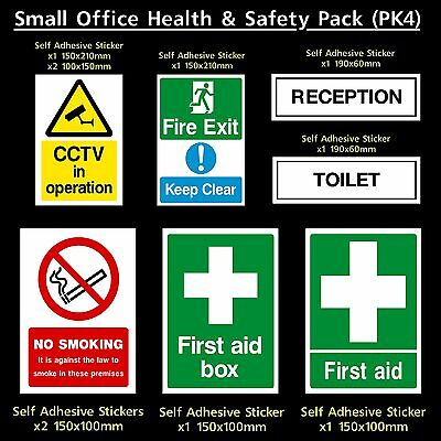 Health & Safety Pack - Fire, CCTV, Smoking, Toilet - Plastic Sign, Sticker (PK4)