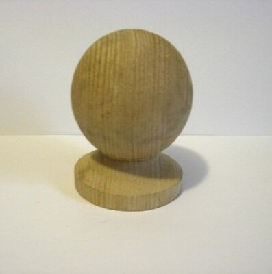 "4"" Untreated Decorative Wooden Post Ball and Colllar Finial Fencing & Decking"