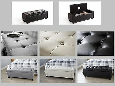 Ottoman Storage Bench Bedding Blanket Box - Fabric or Faux Leather - 4 Colours