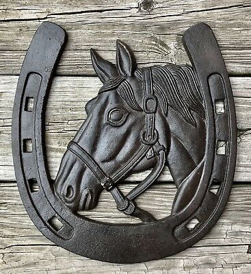 Cast Iron Horse Head with Horseshoe Country Wall-Hanging Plaque Sign