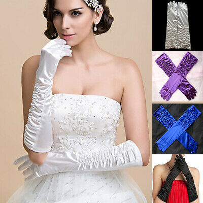 New Bridal Wedding Long Pleated Gloves Evening Party Prom Costume Satin Gloves