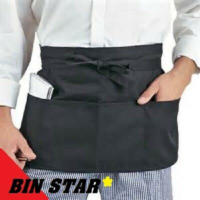 1 New Black Waiter Waitress Chefs Kitchen 3 Pocket Waist Aprons Bin Star Brand