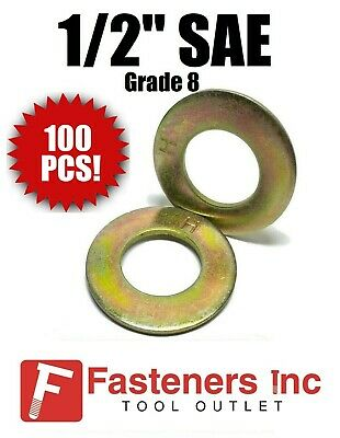 "(Qty 100) 1/2"" SAE Flat Washers Thru-Hardened / Grade 8 Yellow Zinc"