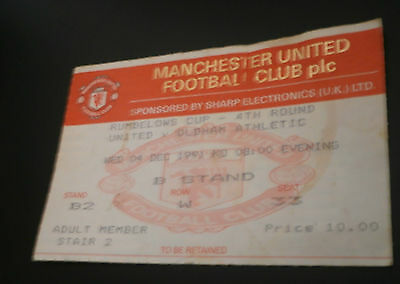Manchester United v Oldham Athletic 4th Dec 1991 Rumbelows Cup 4th Rd Ticket