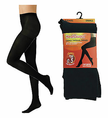 Ladies Black Thermal Tights with Soft Brushed Inner Winter 140 Denier Tights