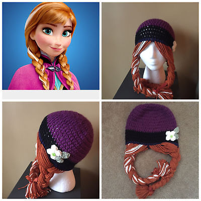 Disney Frozen Princess Anna Beanie Hat Girls Child Kids Winter Warm Outerwear