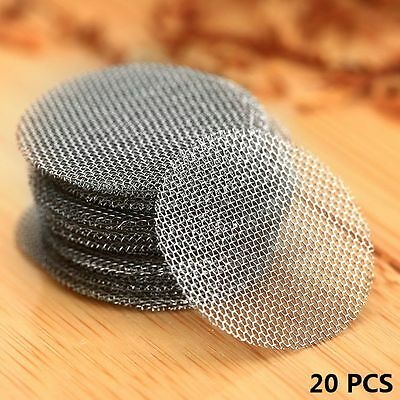 "20mm 0.78"" Silver Stainless Steel Tobacco Smoking Pipe Screen Metal Filters 20PC"
