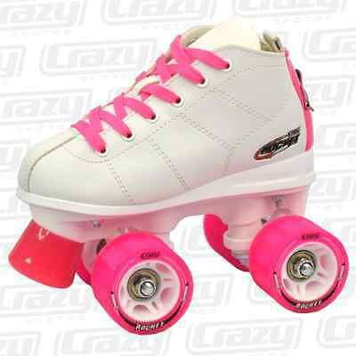 Crazy ROCKET KIDS Roller Skates - White/Pink - NEW Speed Rollerskates *CLEARANCE