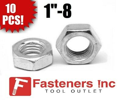 """(Qty 10) 1""""-8 Hex Jam (Thin) Nuts Zinc Plated Low Carbon Grade 2"""