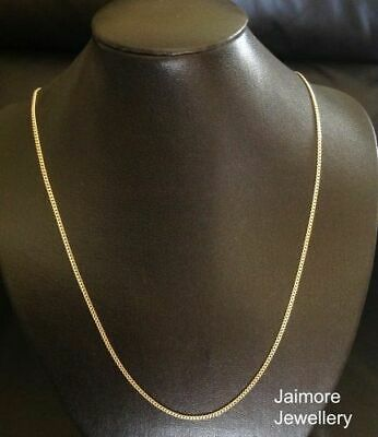 "2mm CURB Necklace Diamond Cut 100% 9K Aust Gold & 925 Silver CHAIN 24""/60cm"