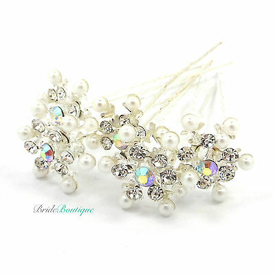 Bridal Wedding Prom Silver Crystal & Pearl Snowflake Hair Pins Clips Grips HP12