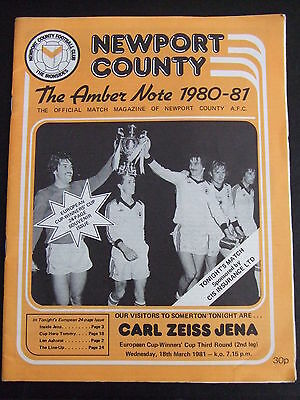 Newport County v Carl Zeiss Jena European Cup Winners Cup 1980/81