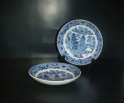 W. Ridgway Blue Willow Bowls Set 2 Made England