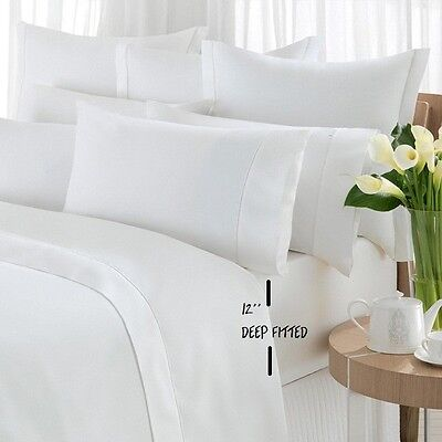 6 NEW 60X80+12  t-200 GA MILLS QUEEN SIZE HOTEL GRADE DEEP-FITTED PARCALE SHEET